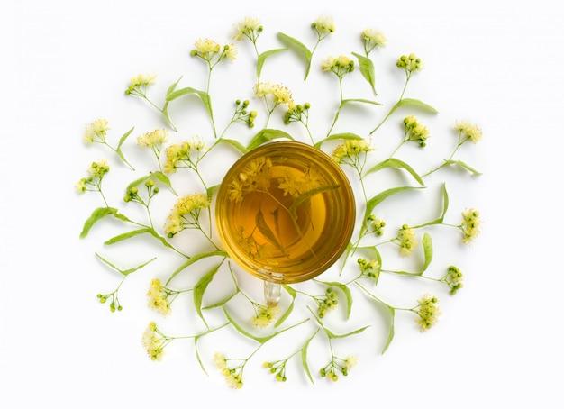 Chá de ervas - xícara de chá de tília rodeada de tílias. bebida curativa. vista do topo.