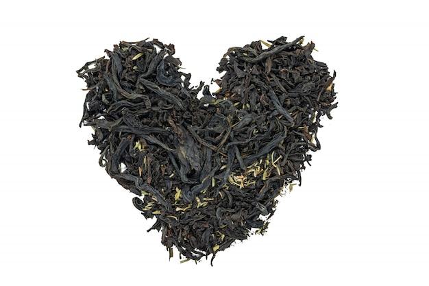 Chá de fireweed com erva tomilho, em forma de coração, close-up, em forma de coração.