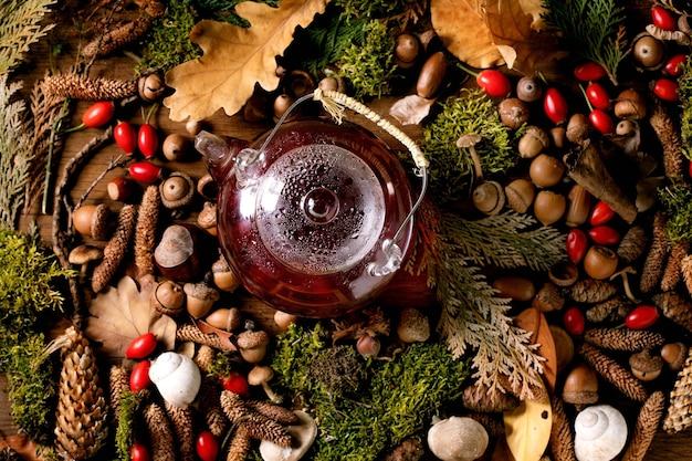 Chá de frutas de ervas em fundo de floresta outonal mágica
