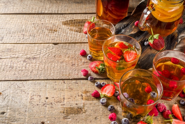 Chá de frutas e bagas de kombucha