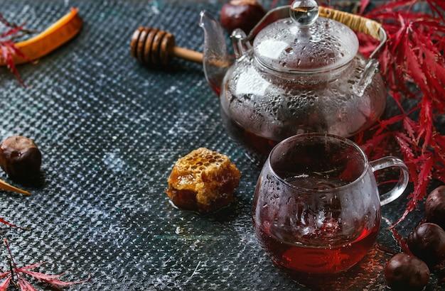 Chá de hibisco vermelho outono