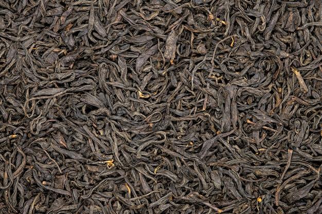 Chá do souchong de lapsang, fim acima, macro.