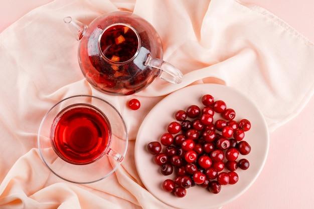 Chá em caneca de vidro e bule com cerejas em rosa e têxtil