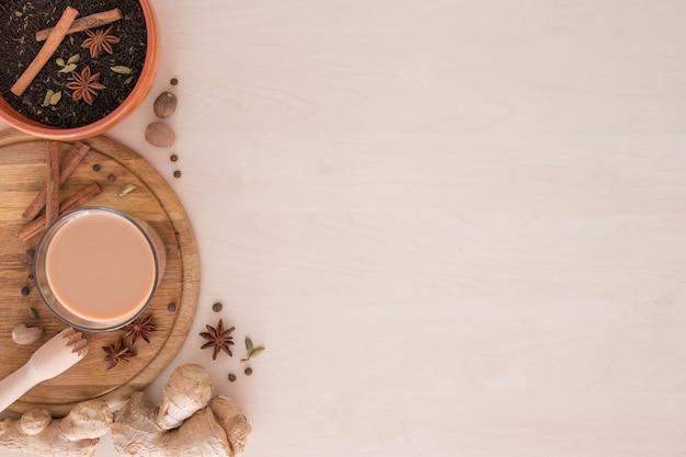 Chá indiano masala com especiarias diferentes
