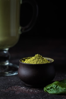 Chá matcha verde orgânico em pó