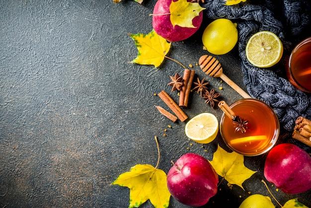 Chá picante quente de inverno outono