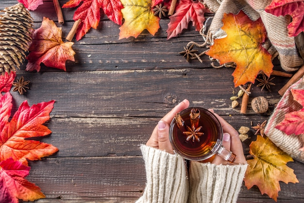 Chá quente de outono picante