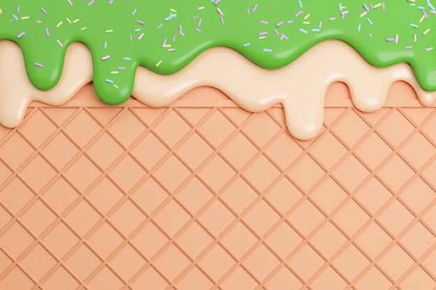 Chá verde e sorvete de baunilha derretido no fundo da bolacha, modelo 3d e ilustração.