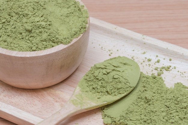 Chá verde em pó.
