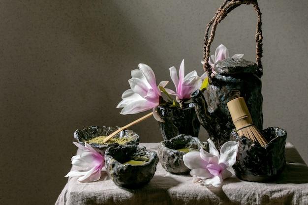 Chá verde matcha japonês