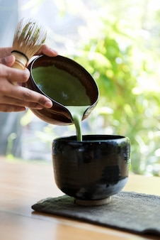 Chá verde matcha tradicional japonesa