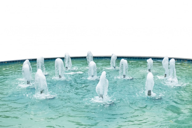 Chafariz, jorrando, em, piscina água