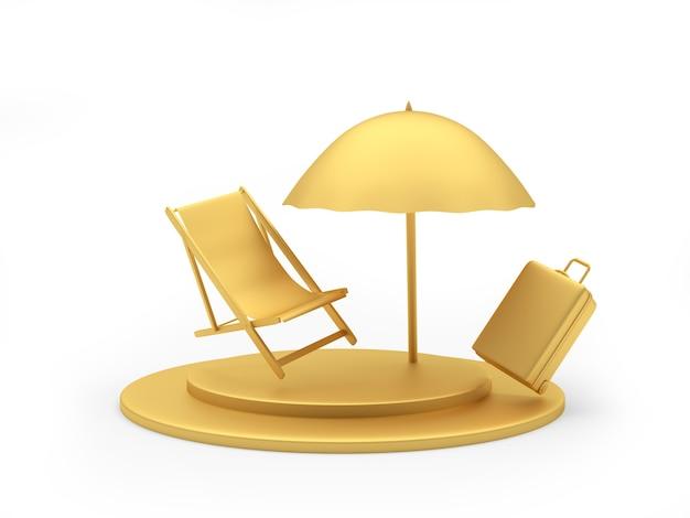 Chaise longue dourada com uma mala de viagem sob um guarda-sol
