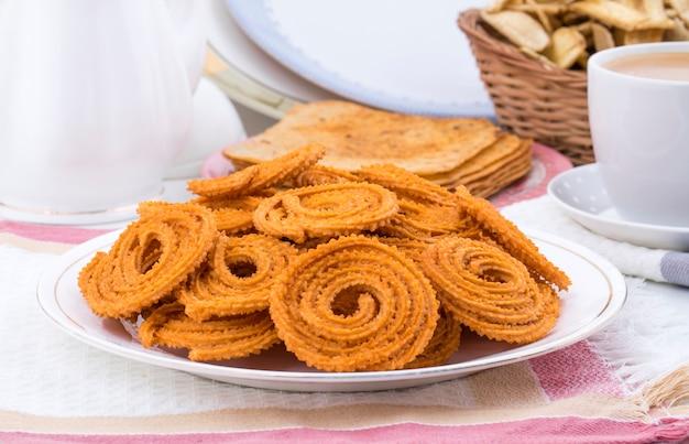 Chakli de lanche tradicional indiano