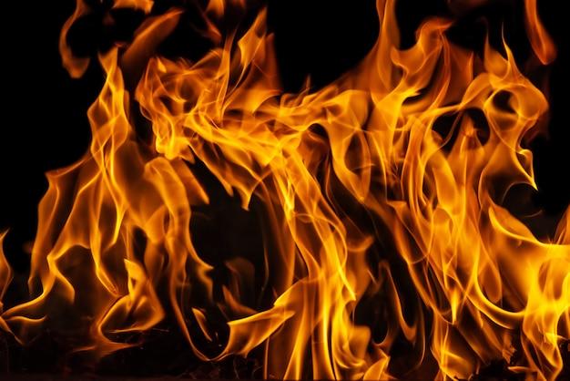 Chama ardente do fogo no fundo preto