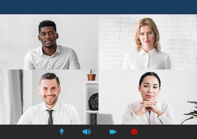 Chamada de conferência online para reunião de equipe