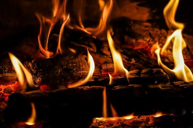 Chamas de fogo e brasas de madeira queimada na lareira