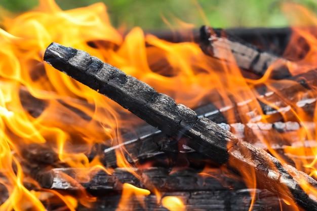Chamas de fogo e brasas de madeira queimada