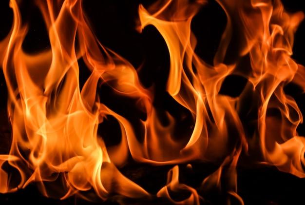 Chamas de fogo em um fundo preto o mistério do fogo