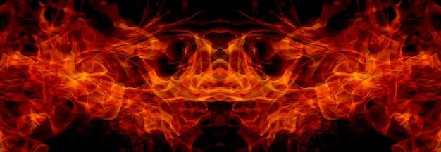 Chamas de fogo no fundo preto da arte abstrata
