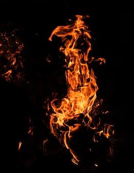 Chamas de fogueira à noite. fogo chamas em um fundo preto