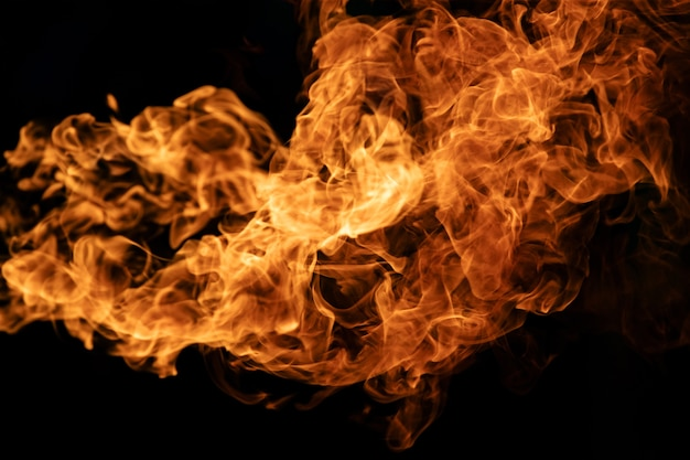 Chamas do fogo do close up no fundo preto.