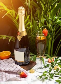 Champagne, prosecco garrafa com dois copos cheios em uma tabela com fruis cítricos e ervas
