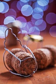 Champanhe corcks no desfocado