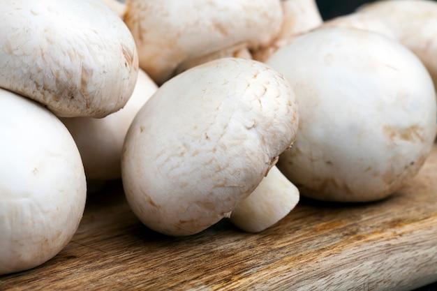 Champignon de cogumelos não lavados durante o cozimento, close-up de cogumelos que ainda não foram lavados e limpos