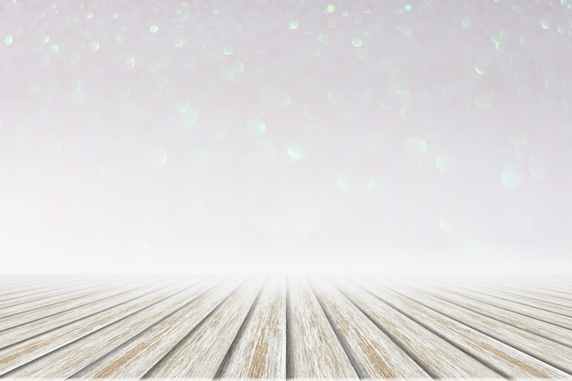 Chão de madeira branco rosa e branco bokeh de fundo