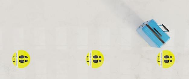 Chão de mármore branco com sinais de distância social com mala azul. renderização 3d