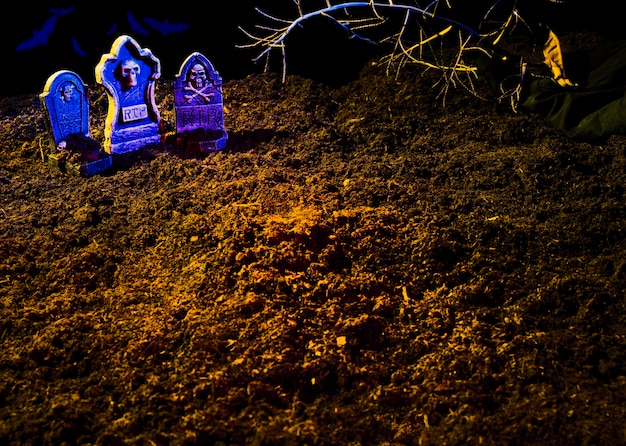 Chão, sepulturas, brilhar, violeta, headstones