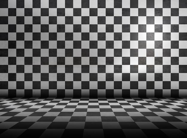 Chão xadrez e padrão de parede na sala. grunge design de interiores vazio