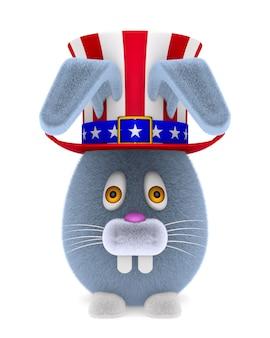 Chapéu americano e coelho de desenho animado em branco.