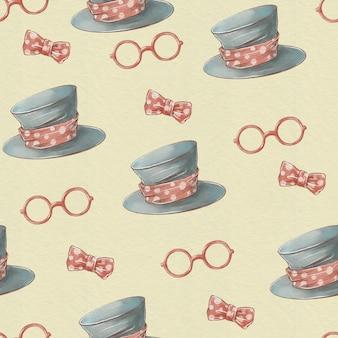 Chapéu bonito dos desenhos animados e óculos padrão sem emenda.