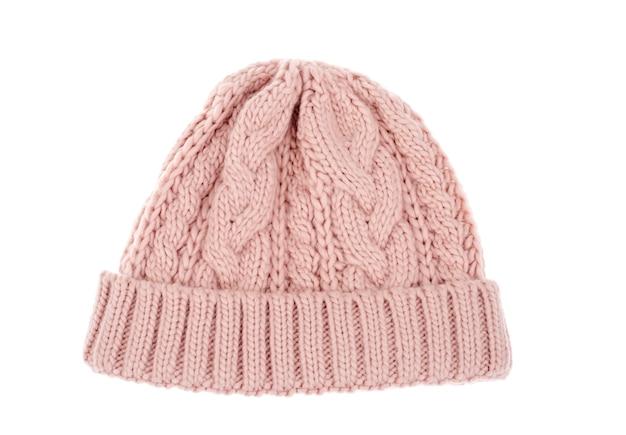 Chapéu colorido quente de malha para o inverno, isolado no branco