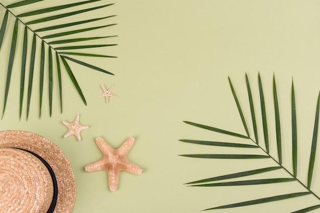 Chapéu com folhas de palmeira e estrelas do mar em uma superfície colorida