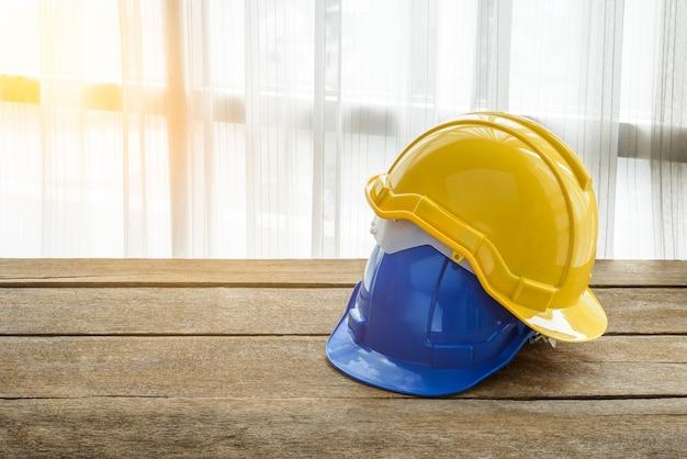 Chapéu de construção de capacete de segurança duro amarelo, azul para projeto de segurança