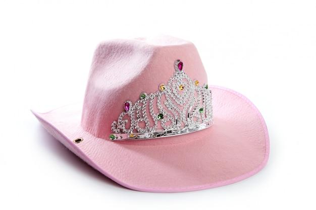 Chapéu de coroa de vaqueira rosa de menina de crianças