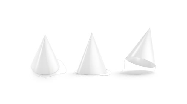 Chapéu de festa branco em branco simulado conjunto acessório vazio com maquete de papelão traje infantil mokcup