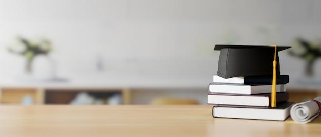 Chapéu de formatura 3d render em livros e um diploma em uma mesa de madeira com fundo desfocado da faculdade
