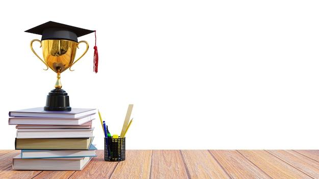 Chapéu de formatura 3d render em um troféu dourado na mesa de madeira com livros e lápis