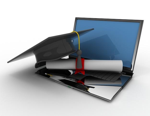 Chapéu de formatura com diploma. conceito de e-learning