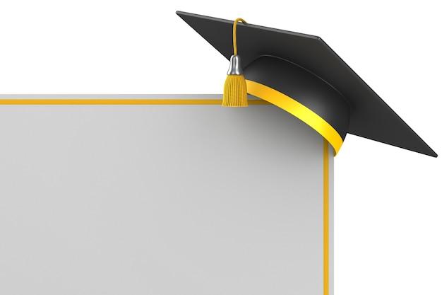 Chapéu de formatura e banner em fundo branco. ilustração 3d isolada