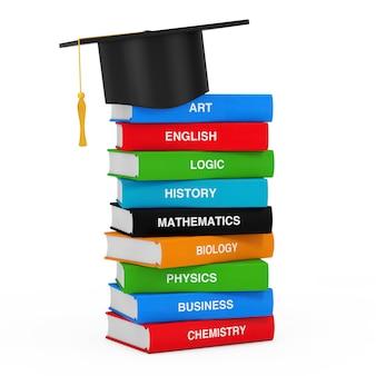 Chapéu de gaduação sobre pilha de livros escolares coloridos em um fundo branco. renderização 3d