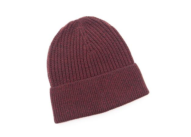 Chapéu de malha sazonal outono inverno isolado no branco