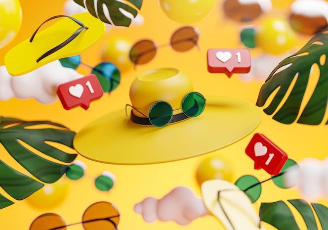 Chapéu de óculos de sol, verão, conceito de fundo amarelo renderização em 3d