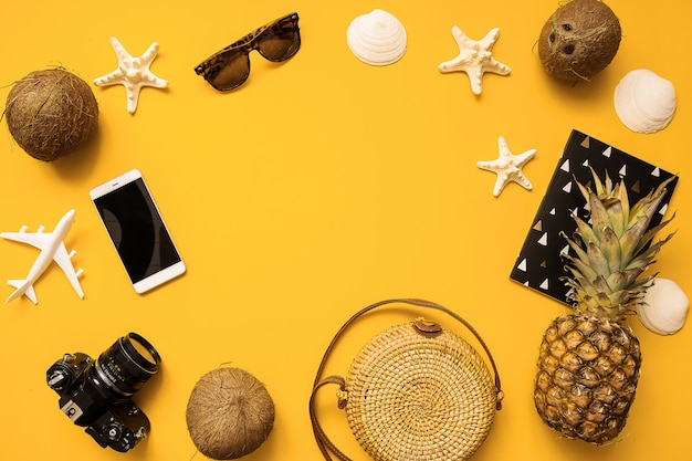 Chapéu de palha, câmera de filme retrô, saco de bambu, óculos de sol, coco, abacaxi, conchas do mar e fundo de estrelas do mar