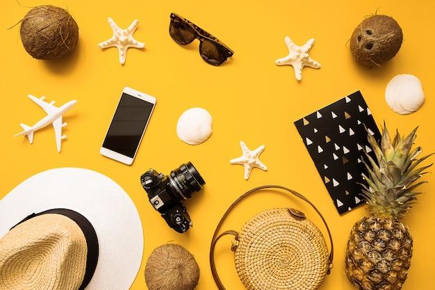 Chapéu de palha, câmera de filme retrô, saco de bambu, óculos de sol, coco, abacaxi