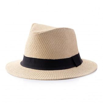 Chapéu de palha vintage com fita preta para homem isolado